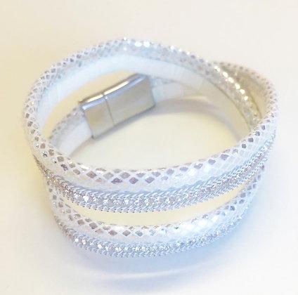 Armbånd med glitter - hvid