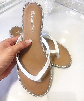 Slippers m. sten - hvid