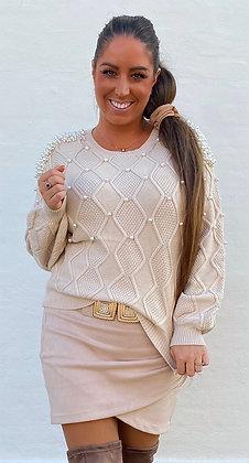 Bluse i strik med perler - beige