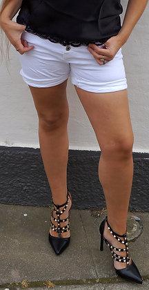 Shorts med stræk - hvid