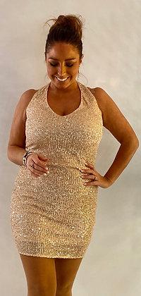 Rosegold paliet kjole