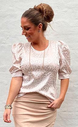 Silkelook leo skjorte - creme