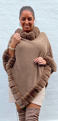 Poncho med i faux fur -  taupe