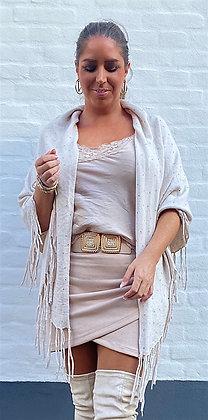 Sjal og tørklæde med sten - beige