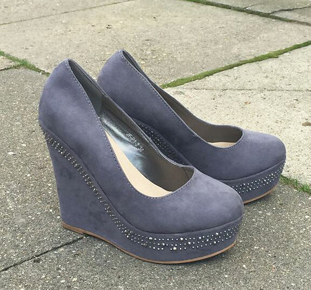 Wedges with similistone in grey