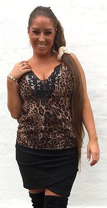 Leopard top med dyb blonde - brun