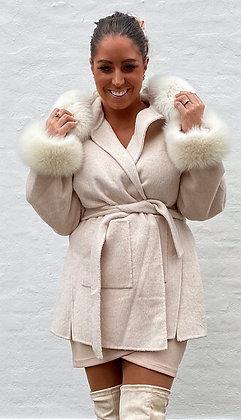 Divaz jakke med hætte og pels i creme