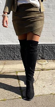 Suede nederdel - khaki grøn