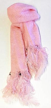 Tørklæde med fjer i baby lyserød