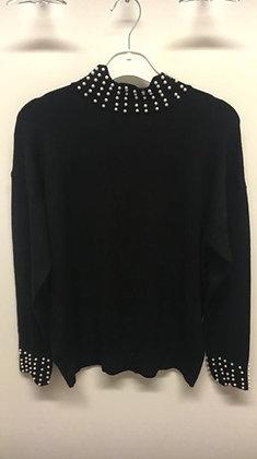 Bluse med krave og perler- sort