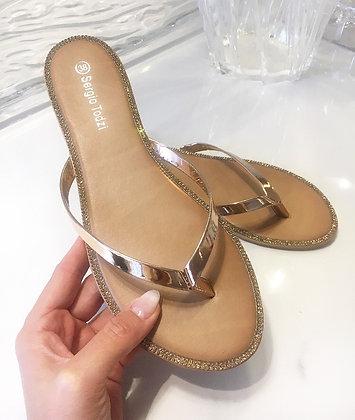 Slippers m. sten -rosagold