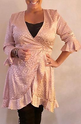 Kjole i Silke og leopard look - rosa