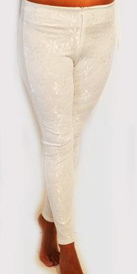Buks/leggings med blomster blonde - hvid
