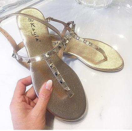 Sandal m. nitter i rosegold