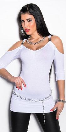 Lækker bluse m. bar skuldre - hvid