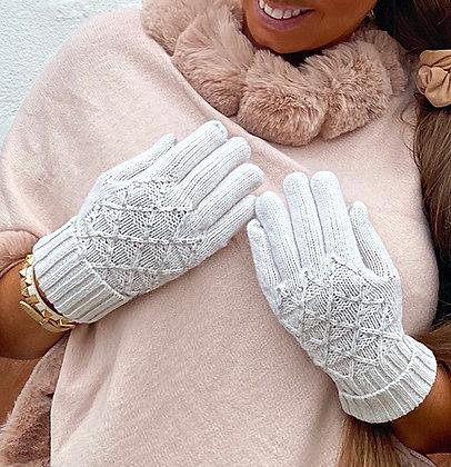 Beige handsker med sten