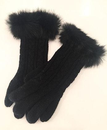 Handske i sort med pels