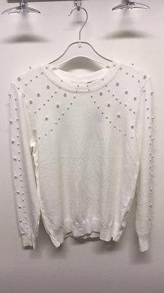 Bluse med perler - hvid