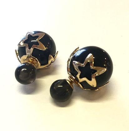 Øreringe med stjerner og perle - sort