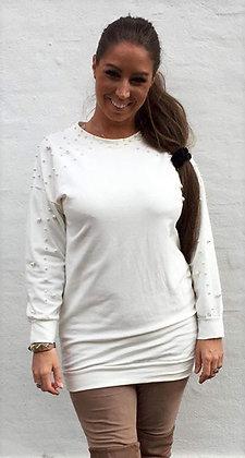 Bluse med perler lang - hvid