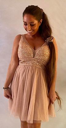 Divaz kjole med kort tyl - rosegold
