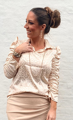 Silkelook leo skjorte/bluse - creme