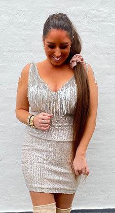 Paliet kjole med frynser i sølv