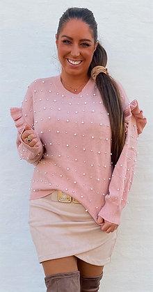 Bluse i strik med perler - rosa