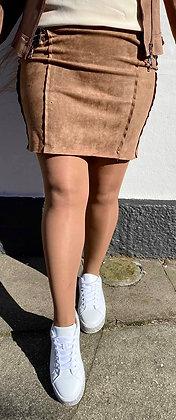 Camel suede nederdel med lynlås