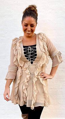 Flæser kjole i beige
