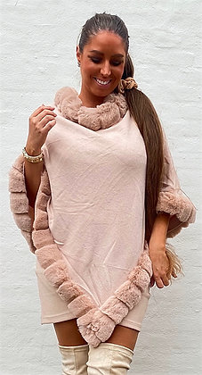 Poncho med i faux fur -  rosa