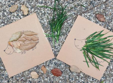 Ricci autunnali in cartone e foglie