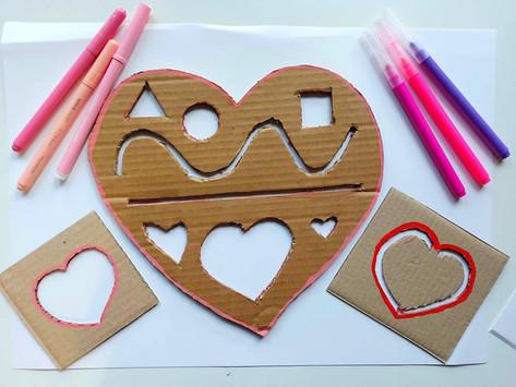 Stencil di san Valentino e altre attività con il cartone