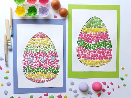 Mosaici con gusci di uova dipinte