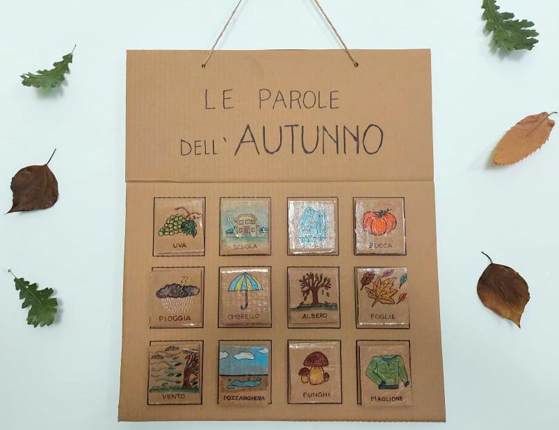Board con immagini e parole dell'autnno per scuola infanzia