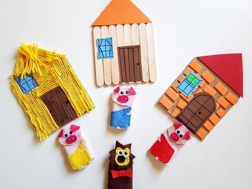 I tre porcellini. Burattini da dita e casette per animare la fiaba coi bambini.