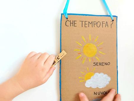 Che tempo fa oggi? Un pannello in cartone per segnare la condizione metereologica.