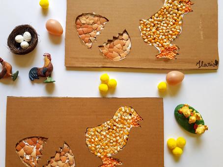 Mosaico su cartone di un pulcino