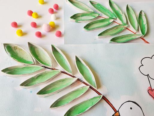 Le Palme dipinte con rotoli di cartone