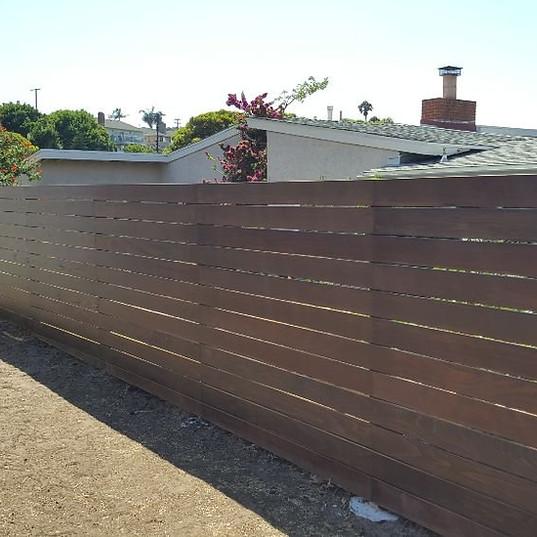 redwood horizontal fence in redondo beac