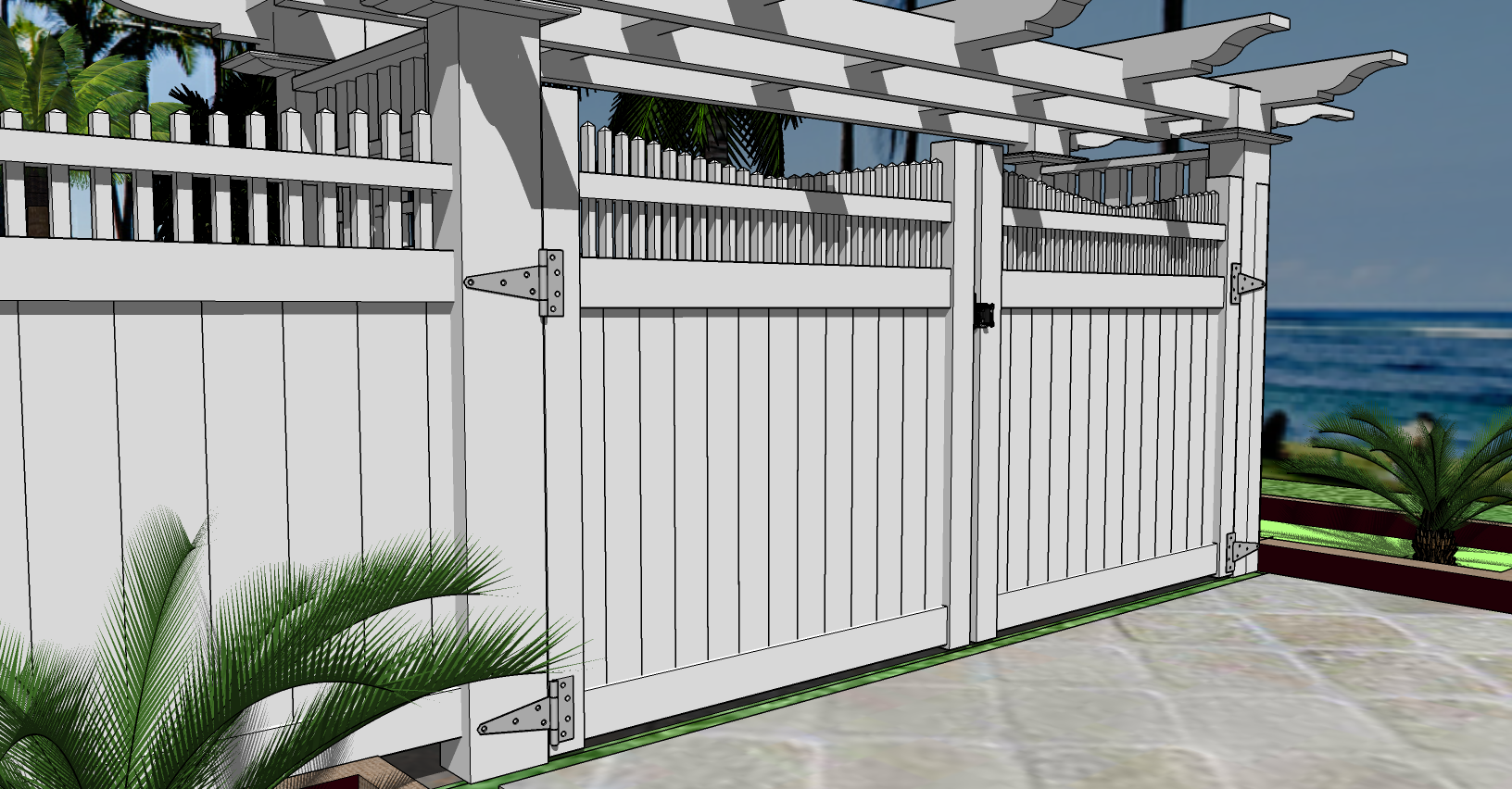 2D-Double Drivway Vinyl Privacy GATE
