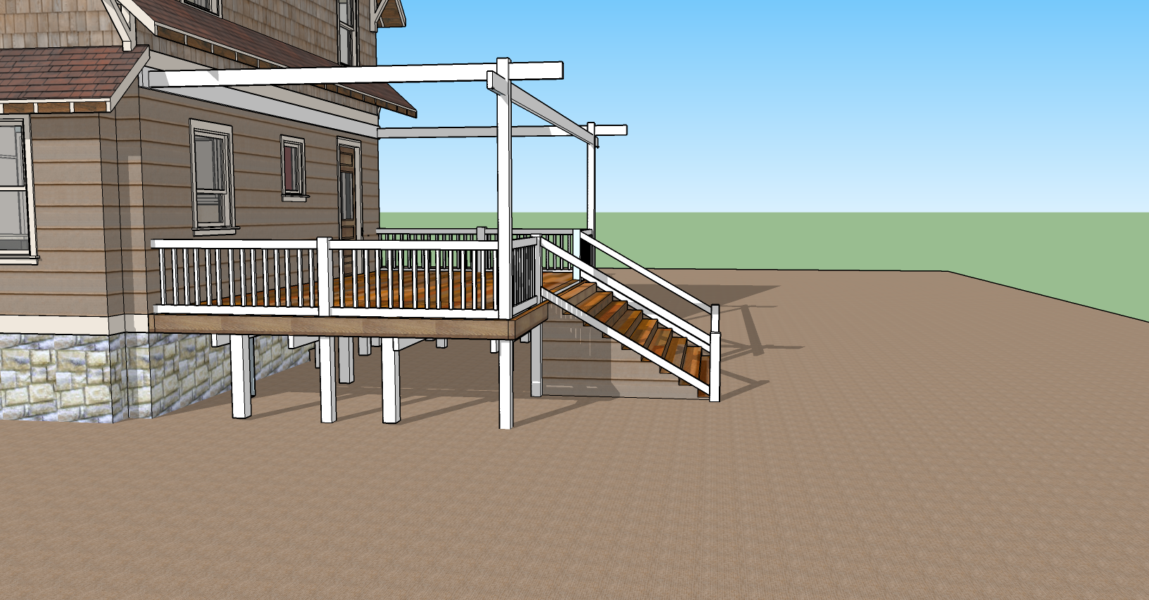 deck with patio torrance fence