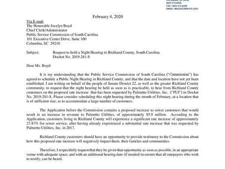 Request to hold a Night Hearing in Richland County, South Carolina