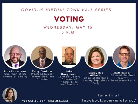 Virtual Town Halls on Wednesday & Thursday: Voting & Education