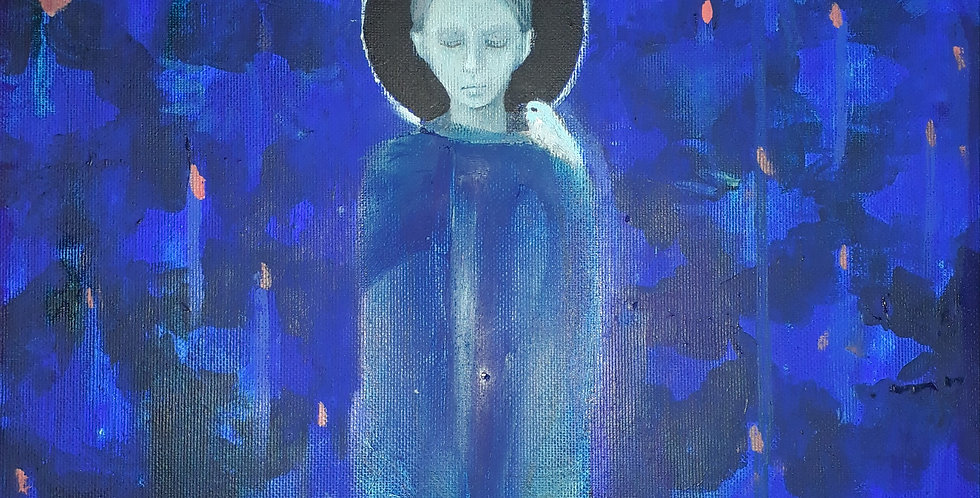 Blue girl with the birds (verkocht)