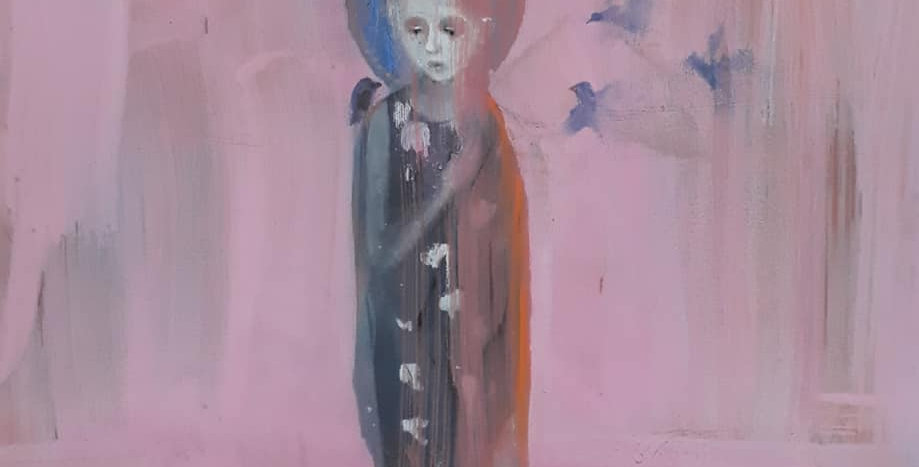 Pink girl with birds