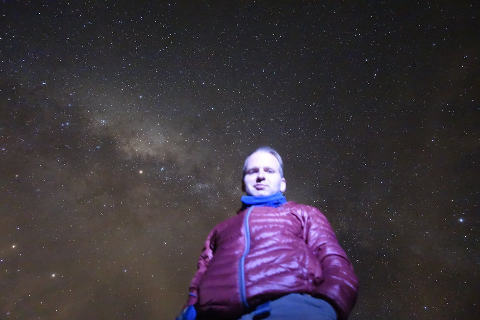Self portrait with Milky Way and Mars (the bright dot left of center). Yerba Loca, Chile.