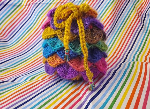 Soft Rainbow Crochet DiceBag