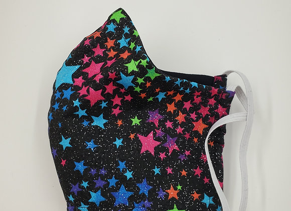 Rainbow Stars  and glitter face mask