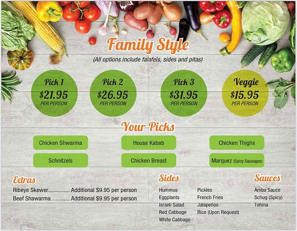 family style menu
